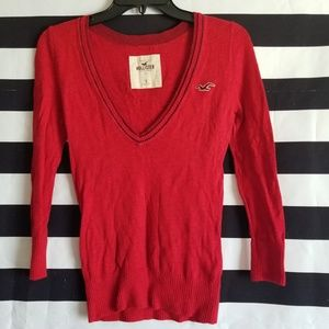 💚 Hollister Red V-Neck Sweater Size Small